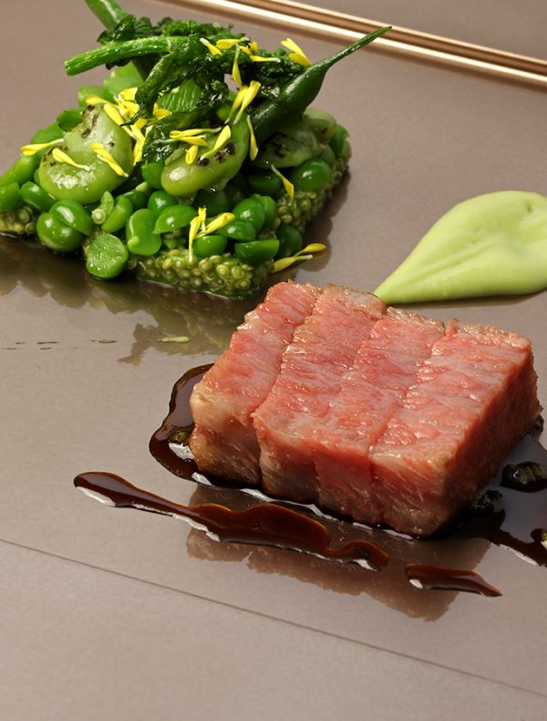Roasted Wagyu Fillet, Seasonal Green Pea and Quinoa Salad, Jus with Wasabi.