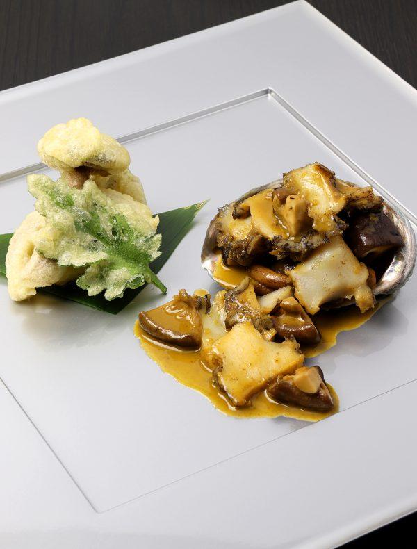 Sautéed Abalone and Shiitake Mushroom, Liver Butter Sauce.