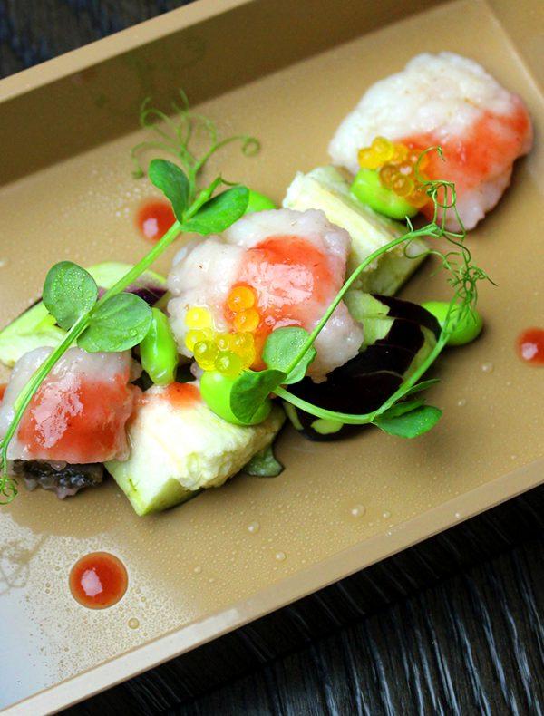 和歌山県産鱧と水茄子のインサラータ 梅肉とバニラのサルサ ¥2,000