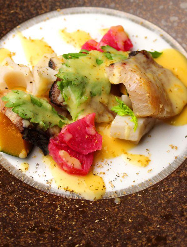 天然ブリと自家製季節フルーツ 酢味噌のマリナート ¥1,600
