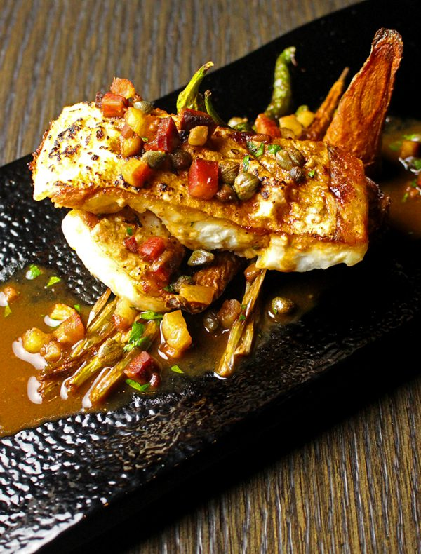 鮮魚のアルフォルノと美山野菜の素揚げ サルサ ディ パンチェッタ ¥2,600