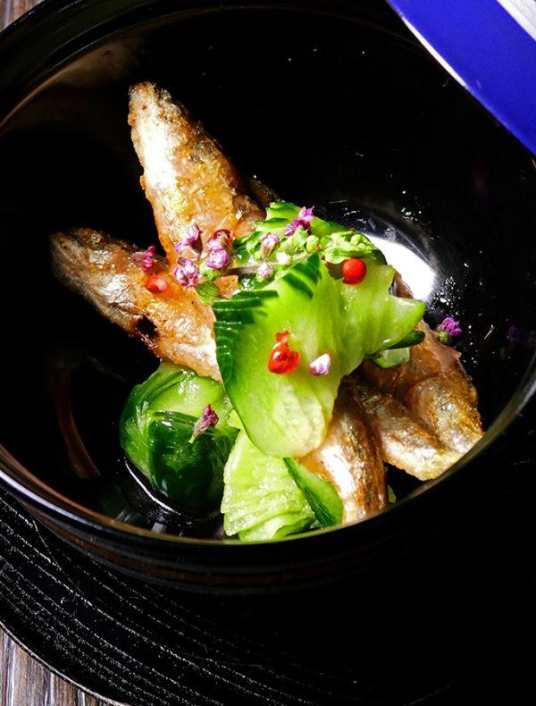 滋賀県産稚鮎のフリット 赤紫蘇のサルサ ¥1,600