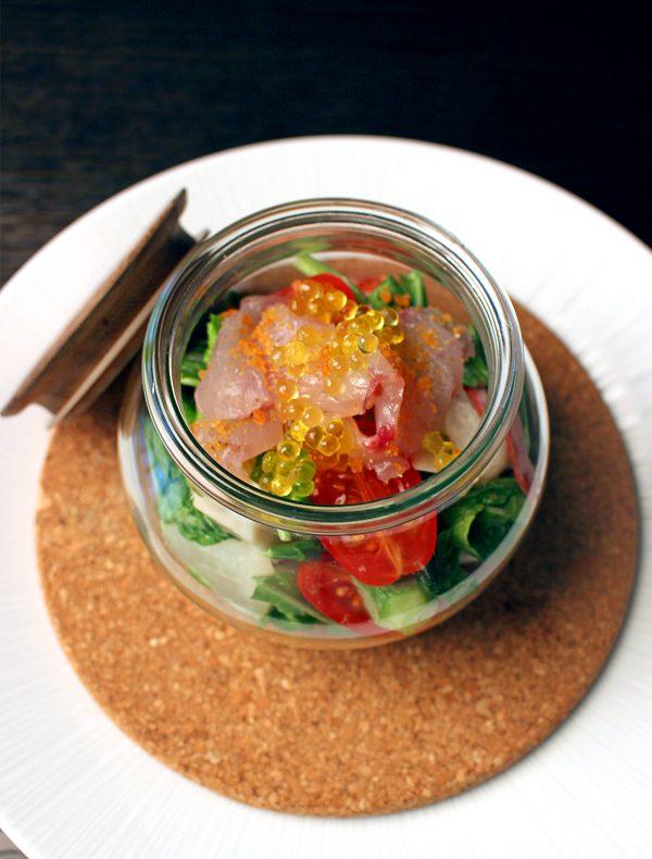 本日鮮魚と美山野菜のサラダ 黄柚子のサルサ ¥2,200