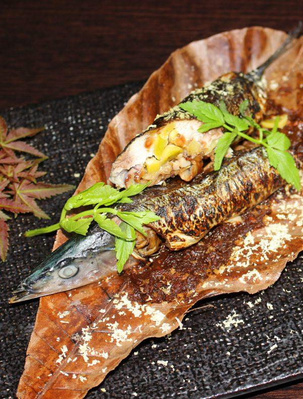 秋刀魚と秋の味覚の朴葉焼き ¥1,800