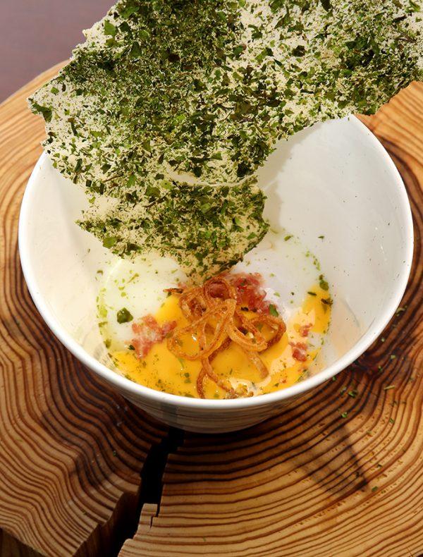 Pickled Amberfish, Salted rice malt, Turnip, Yellow chive, Dandelion, Roquette, Mayer Lemon   ¥1,600