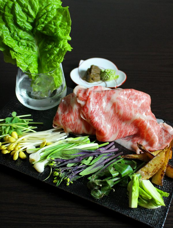 Japanese Beef sirloin with Wild plants, lettuce roll ¥4,150