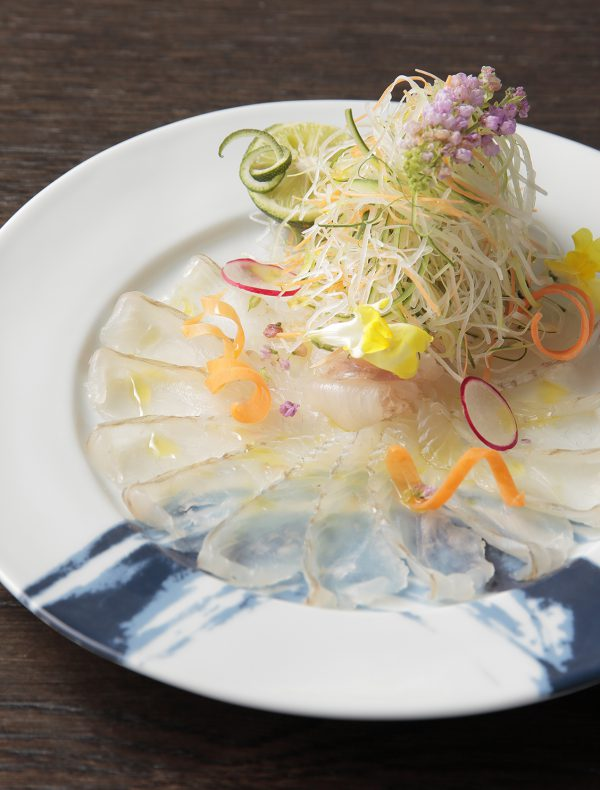 Wild Seabream  Sashimi, Sudachi, Capers and Cucumber Salad ¥3,000
