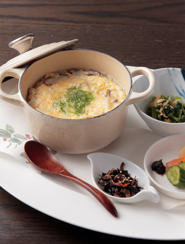 Rice Porridge with Egg (served with Delicacies, Miso Soup) <br />