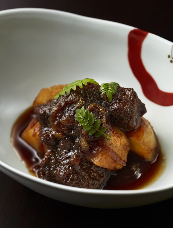 'Take out' 'Niku-jyaga 'Braised potatoes and wagyu beef, flavored with sansho pepper.